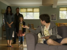 Gemma Chan as Anita, Tom Goodman Hill as Joe Hawkins, Pixie Davies as Sophie Hawkins and Theo Stevenson as Toby Hawkins - Humans _ Season 1, Episode 1 - Photo Credit: Des Willie/Kudos/AMC/C4