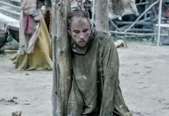 Floki (Gustaf Skarsgard) is chained up in Season 4 of History Channel's Vikings