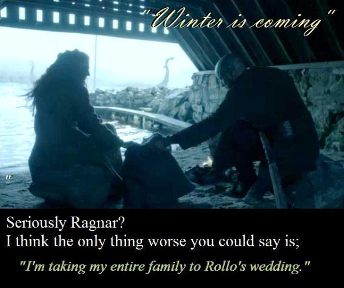 Ragnar (Travis Fimmel) tells Helga (Maude Hirst) that winter is coming in Episode 2 Season 4 of Vikings