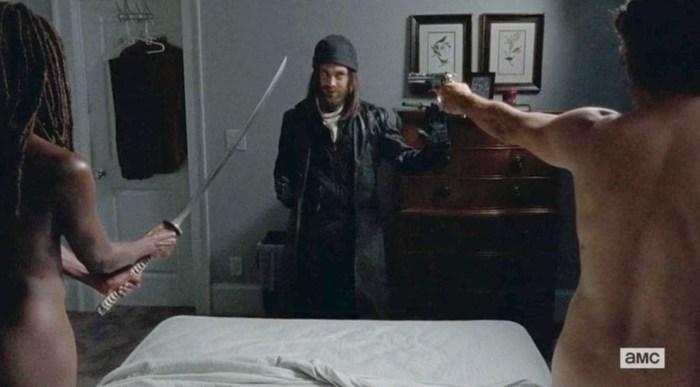 Rick and Michonne get woken up by Jesus in Episode 10 Season 6 of AMC's The Walking Dead