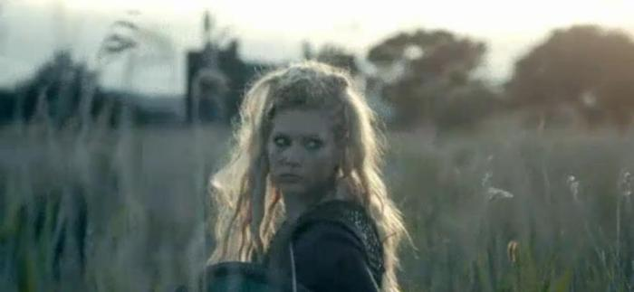 History Channel's Vikings Season 4 Episode 7 Lagertha in the grass