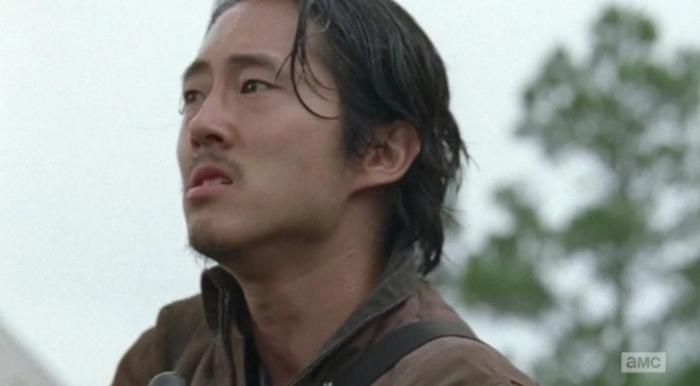 The look on Glenn's face when he realises Negan has Maggie in Season 6 Episode 12 of AMC's The Walking Dead
