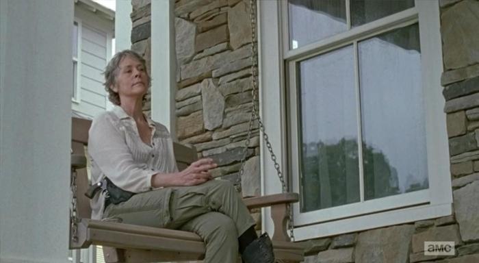 "Carol Peletier (Melissa McBride) decides to leave Alexandria in Episode 14 (""Twice As Far"") Season 6 of AMC's The Walking Dead"