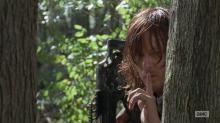 "The Walking Dead Season 6 Episode 15 ""East"" Daryl behind a tree"