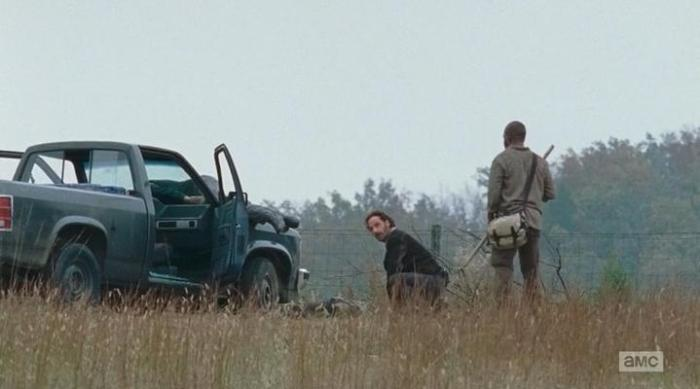 """The Walking Dead Season 6 Episode 15 """"East"""" Rick and Morgan at the ute"""
