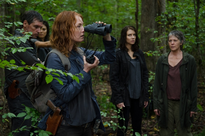 Alicia Witt as Paula, Lauren Cohan as Maggie Greene, and Melissa McBride as Carol Peletier - The Walking Dead _ Season 6, Episode 13