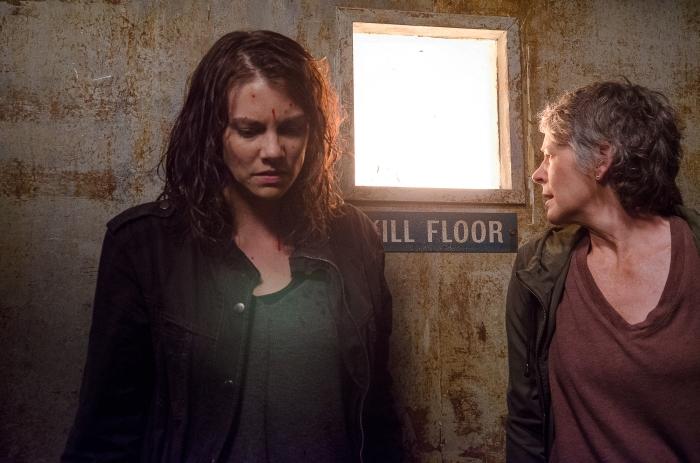 Lauren Cohan as Maggie Greene and Melissa McBride as Carol Peletier - The Walking Dead _ Season 6, Episode 13