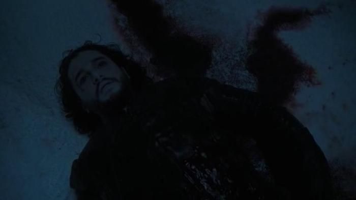 HBO Game of Thrones Season 6 Episode 1 The Red Woman Jon Snow dead in the snow