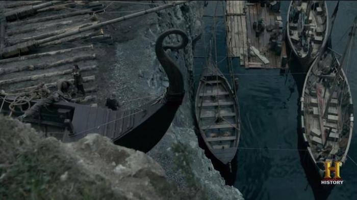 History Channel's Vikings Season 4 Episode 8 Longship being raised