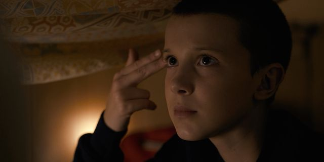 Netflix's Stranger Things Season 1 Episode 2 Eleven pretends to shoot herself