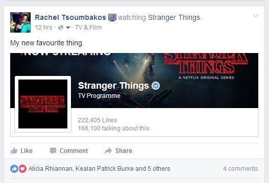 Rachel Tsoumbakos Stranger Things Episode 1 Facebook status