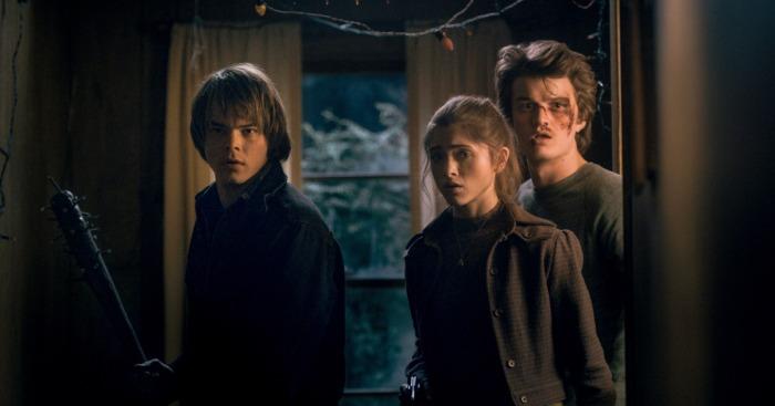Netflix's Stranger Things Season 1 finale Episode 8 The Upside Down Jonathan, Nancy and Steve