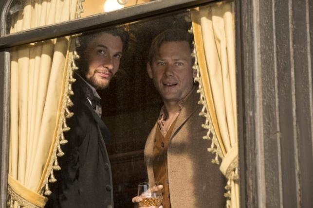 HBO's 'Westworld,' Season 1, Episode 2, Ben Barnes as Logan and Jimmi Simpson as William