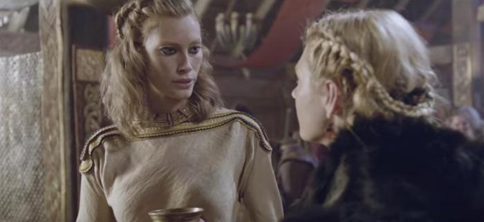 Alyssa Sutherland stars as Queen Aslaug and Katheryn Winnick stars as Lagertha in History Channel's 'Vikings,' Season 4