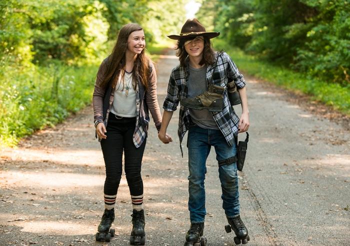AMC's 'The Walking Dead,' Season 7, Episode 5, Enid and Carl on roller skates
