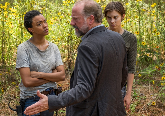 AMC's 'The Walking Dead,' Season 7, Episode 5, Maggie, Gregory and Sasha at the graves
