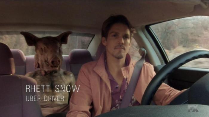 FX's 'American Horror Story Roanoke,' Chapter 9, Uber guy, Rhett Snow with Dylan dressed as the Pig Man