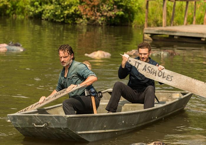 AMC's 'The Walking Dead,' min-season finale, Season 7, Episode 8, Hearts Still Beating, Rick and Aaron in a boat