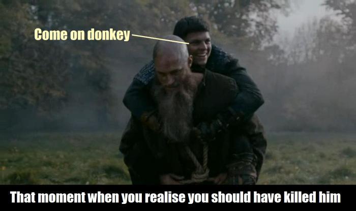 History's 'Viking,' Season 4B, Episode 13, Ragnar gives Ivar the Boneless a piggyback ride meme