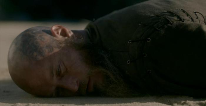 History's 'Viking,' Season 4B, Episode 13, Ragnar lying on the beach
