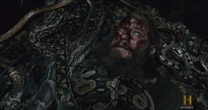 History's 'Vikings,' Season 4, Part 2, Episode 15, Ragnar in the snake pit, close up