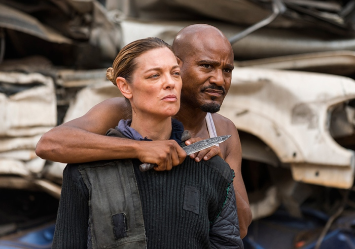 AMC's 'The Walking Dead,' Seaosn 7, Episode 10, New Best Friends, Father Gabriel threatens a member of the new group