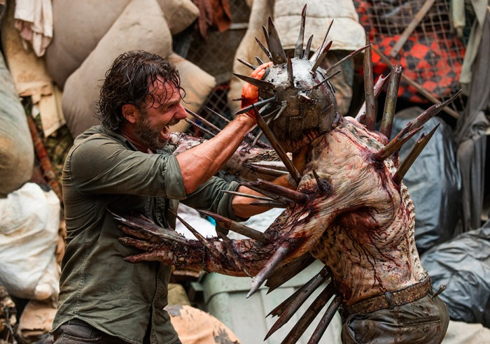 AMC's 'The Walking Dead,' Seaosn 7, Episode 10, New Best Friends, Rick and the spiky walker