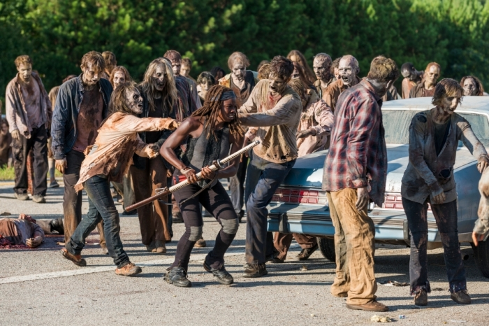 AMC's 'The Walking Dead,' Season 7, Episode 9, Michonne battles a herd of walkers