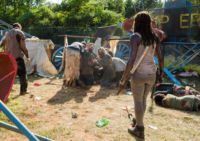 AMC's 'The Walking Dead,' Season 7, Episode 12, Say Yes, Michonne thinks Rick is dead