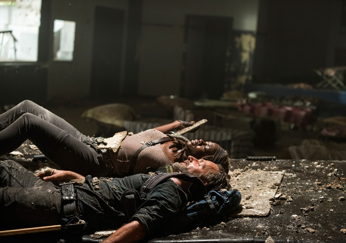 AMC's 'The Walking Dead,' Season 7, Episode 12, Say Yes, Rick Grimes and Michonne land on a mattress