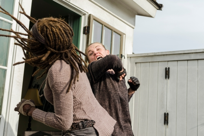 AMC's 'The Walking Dead,' Season 7 finale, Episode 16, Michonne fights with Jadis' sniper
